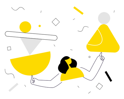 illustration of a woman balancing yellow, black, and grey shapes on her index fingers