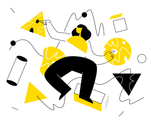 Illustration in yellow, black, and grey of a cartoon woman with lots of shapes around her