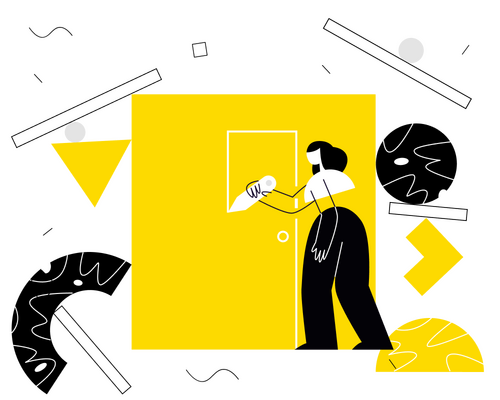 illustration of woman drawing a door onto a yellow square with shapes around her