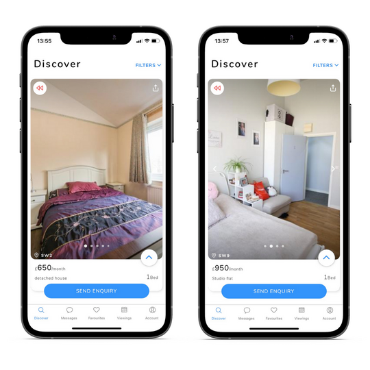Images of Brixton properties on two phones