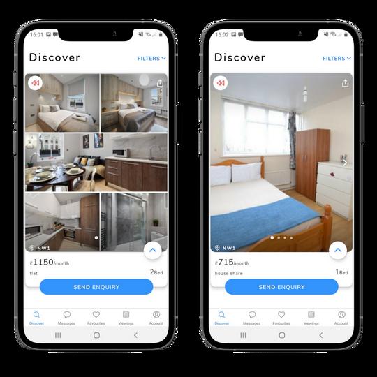 Images of Camden properties on two phones