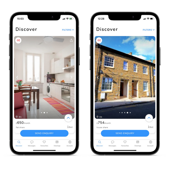Images of Shoreditch properties on two phones